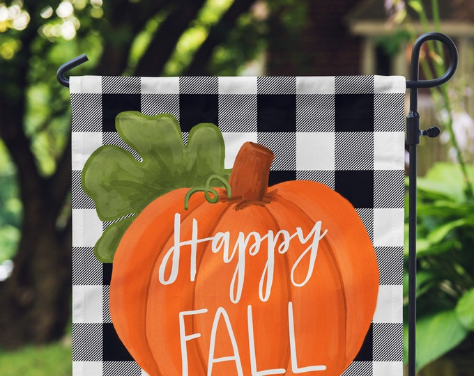 Featured listing image: Fall Garden Flag - Buffalo Check - Personalized Garden Flag - Custom House Flag - Buffalo Plaid - Pumpkin Decor - Happy Fall - Monogram Flag