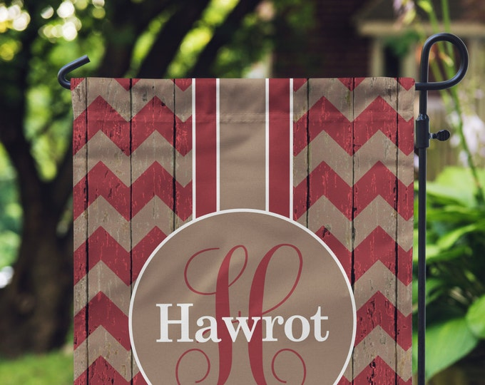 Featured listing image: Garden Flag - Personalized Garden Flag - Rustic Chevron Flag - Personalized Yard Flag - Double Sided Flag - Wedding Gift - Housewarming Gift