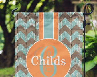Garden Flag - Personalized Garden Flag - Rustic Chevron Flag - Personalized Yard Flag - Wedding Gift - Housewarming Gift - Double Sided Flag