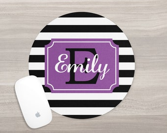 Monogram Mouse Pad - Desk Mouse Pad - Personalized Mouse Pad - Round Mouse Pad - Custom Mousepad - Stripe Mouse Pad - Teacher Gift - Purple