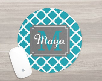 Monogram Mouse Pad - Desk Mouse Pad - Personalized Mouse Pad - Quatrefoil Mouse Pad - Round Mouse Pad - Custom Mousepad - Teacher Gift