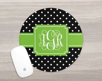 Monogram Mouse Pad - Personalized Mouse Pad - Desk Mouse Pad - Round Mouse Pad - Custom Mousepad - Vine Monogram - Polka Dot Mouse Pad