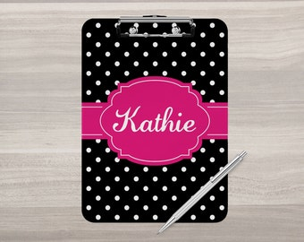Personalized Clipboard - Monogram Clipboard - Coach Gift - Nurse Clipboard - Teacher Gift - Polka Dot Clip Board - Double Sided Clipboard