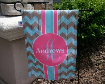 Garden Flag - Personalized Garden Flag - Personalized Yard Flag - Rustic Chevron  - Wedding Gift - Housewarming Gift - Double Sided Flag