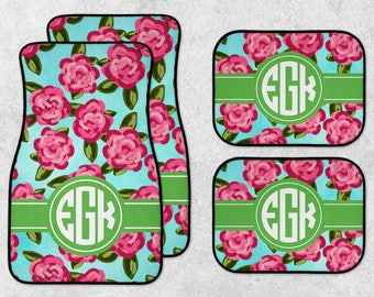 Personalized Car Mats - Floral Car Mats - Watercolor Car Mats - New Car Floor Mats - Preppy Car Mats - Full Set Car Mats - New Driver Gift