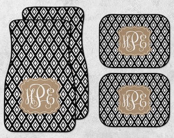 Monogram Car Mat Set - Personalized Car Mats - New Car Floor Mats - Custom Car Mat Set - Full Set Car Mats - Black Car Mats - New Driver