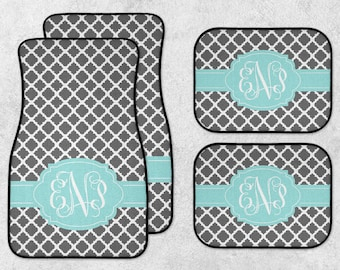 Personalized Car Mats - Monogram Car Mat Set - New Car Floor Mats - Initials Car Mats - Quatrefoil Car Mats - Full Set Car Mats - New Driver