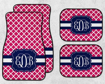 Personalized Car Mats - Custom Car Mat Set - New Car Floor Mats - Monogram Car Mat Set - Preppy Car Mats - Full Set Car Mats - New Driver