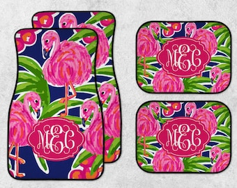 Flamingo Car Mats - Personalized Car Mats - Watercolor Car Mats - New Car Floor Mats - Preppy Car Mats - Full Set Car Mats - New Driver Gift