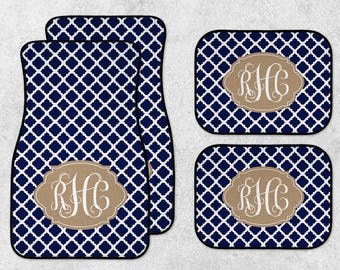 Custom Car Mats - Monogram Car Mats - Personalized Car Mats - New Car Floor Mats - Quatrefoil Car Mats - Full Set Car Mats - Navy Car Mats