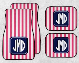Monogram Car Mat Set - Pink Car Mats - New Car Floor Mats - Personalized Car Mats - Custom Car Mat Set - Full Set Car Mats - Stripe Car Mats