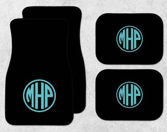 Monogram Car Mats - New Car Floor Mats - Black Car Mats - Personalized Car Mats - Custom Car Mat Set - Full Set Car Mats - New Driver Gift