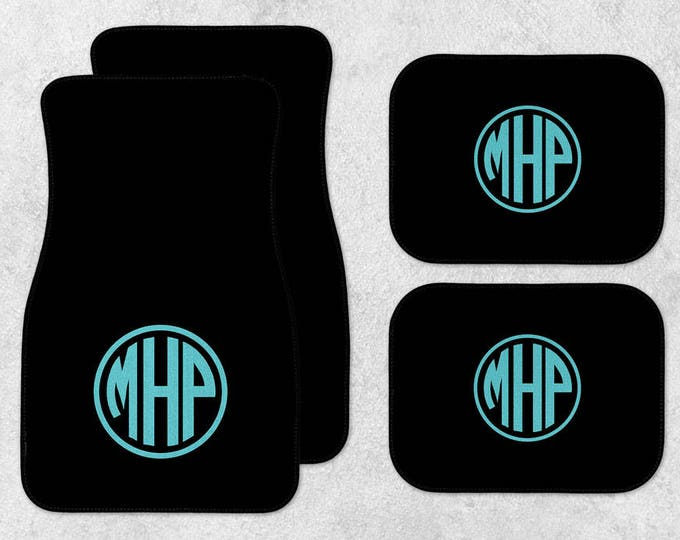 Featured listing image: Monogram Car Mats - New Car Floor Mats - Black Car Mats - Personalized Car Mats - Custom Car Mat Set - Full Set Car Mats - New Driver Gift