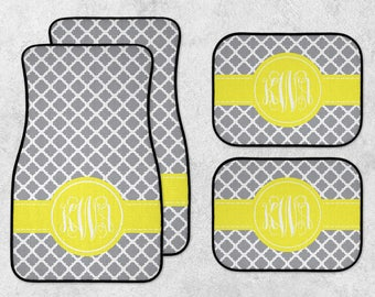 New Car Floor Mats - Monogram Car Mats - Personalized Car Mats - Custom Car Mat Set - Full Set Car Mats - Quatrefoil Car Mats - New Driver