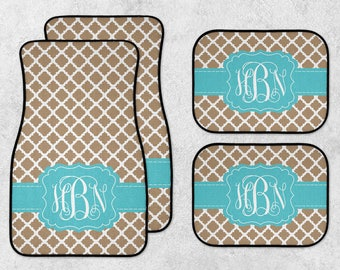 Monogram Car Mats - Personalized Car Mats - New Car Floor Mats - Tan Car Mats - Quatrefoil Car Mats - Custom Car Mat Set - Full Set Car Mats