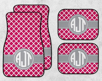New Car Floor Mats - Monogram Car Mats - Pink Car Mats - Personalized Car Mats - Custom Car Mat Set - Full Set Car Mats - Quatrefoil Mats