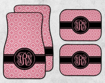 Monogram Car Mat Set - Personalized Car Mats - New Car Floor Mats - Custom Car Mat Set - Pink Car Mats - Full Set Car Mats - New Driver Gift
