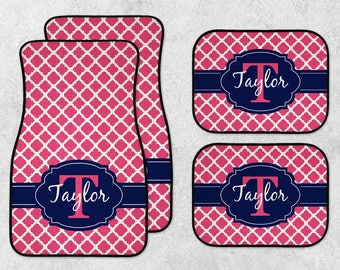 Pink Car Mats - New Car Floor Mats - Monogram Car Mat Set - Personalized Car Mats - Custom Car Mat Set - Full Set Car Mats - Quatrefoil Mats