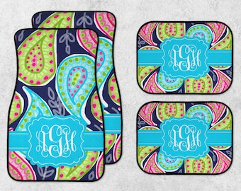 Monogram Car Mats - Watercolor Car Mats - Paisley Car Mats - New Car Floor Mats - Preppy Car Mats - Full Set Car Mats - New Driver Gift