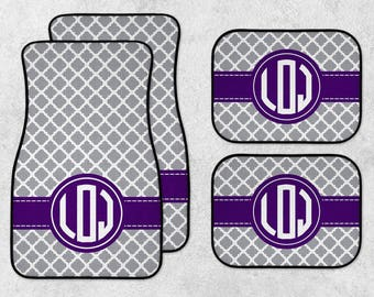 Custom Car Mats - Monogram Car Mats - Personalized Car Mats - New Car Floor Mats - Quatrefoil Car Mats - Full Set Car Mats - Initials Mats