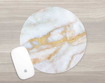 Marble Mouse Pad - Round Mousepad - White Gold Marble - Faux Marble - Girl Boss - Office Accessories - Mouse Mat - Computer Accessories