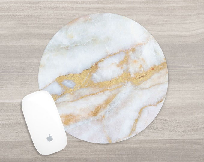 Featured listing image: Marble Mouse Pad - Round Mousepad - White Gold Marble - Faux Marble - Girl Boss - Office Accessories - Mouse Mat - Computer Accessories