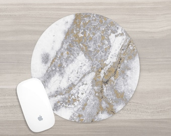 Round Mouse Pad - Gold Marble Mousepad - White Marble Pad - Girl Boss - Desk Accessories - Mouse Mat - Computer Accessories - Gift for Her