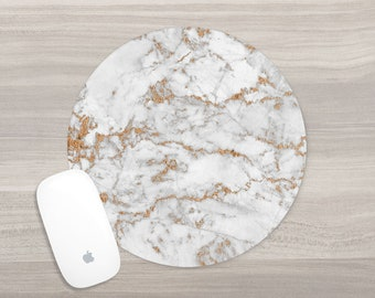 Round Marble Mouse Pad - Marble Print Mousepad - White Gold Marble - Desk Accessories - Mouse Mat - Computer Accessories - Office Supplies