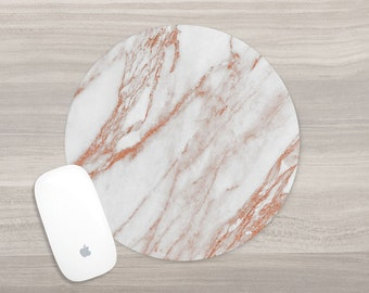 Rose Gold Marble Mouse Pad - Round Mousepad - White Marble - Girl Boss - Mouse Mat - Computer Accessories - Desk Accessories - Gift for Her