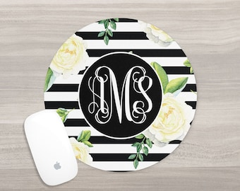 Personalized Mouse Pad - Monogram Mouse Pad - Desk Mouse Pad - Round Mouse Pad - Watercolor Mouse Pad - Custom Mousepad - Teacher Gift