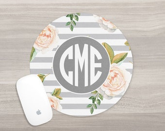 Personalized Mouse Pad - Monogram Mouse Pad - Desk Mouse Pad - Round Mouse Pad - Watercolor Mouse Pad - Custom Mousepad - Coworker Gift