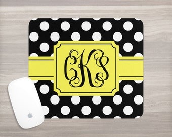 Monogram Mouse Pad - Desk Mouse Pad - Personalized Mouse Pad - Vine Monogram - Custom Mousepad - Polka Dots Mouse Pad - Teacher Appreciation