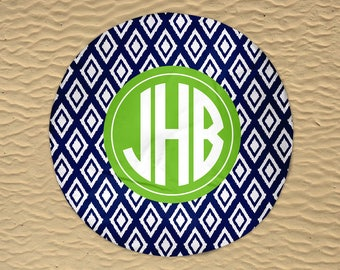 Personalized Round Towel - Round Beach Towel - Beach Roundie - Monogram Round Towel - Round Beach Blanket - Oversize Towel - Ikat Towel