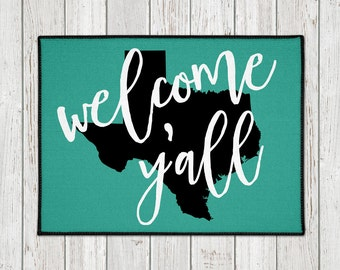Custom Doormat -  Welcome Y'all Door Mat - Custom Welcome Mat - State Door Mat - Wedding Gift - Housewarming - New Home - Indoor Outdoor Mat