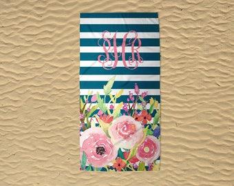 Personalized Beach Towel - Wedding Beach Towel - Monogram Beach Towel - Modern Floral - Bridesmaid Towels - 30x60 Towel - Custom Beach Towel
