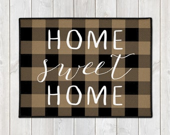Home Sweet Home Mat - Buffalo Plaid Doormat - Custom Welcome Mat - Lumberjack - Tan Black Check - Fall Decor - Housewarming Gift - Holiday