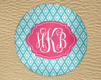Round Beach Towel - Beach Roundie - Monogram Round Towel - Round Beach Blanket - Personalized Round Towel - Oversize Towel - Ikat Towel