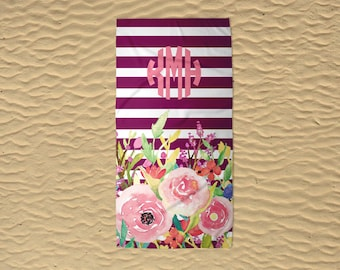 Personalized Beach Towel - Bridesmaid Towels - Monogram Beach Towel - Wedding Beach Towel - Custom Beach Towel - 30x60 Towel - Floral Stripe