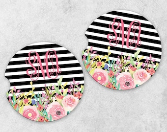 Personalized Car Coaster Set - Monogram Car Coasters - Cup Holder Coasters - Sandstone Car Coasters - Set of 2 Coasters - Floral Coasters