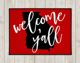 Custom Welcome Mat - Custom Doormat -  Welcome Y'all Door Mat - State Door Mat - Indoor Outdoor Mat - Wedding Gift - Housewarming - New Home
