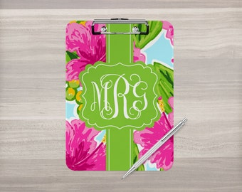 Monogram Clipboard - Personalized Clipboard - Watercolor Flowers - Double Sided Clipboard - Nurse Clipboard - Teacher Gift - Coach Clipboard