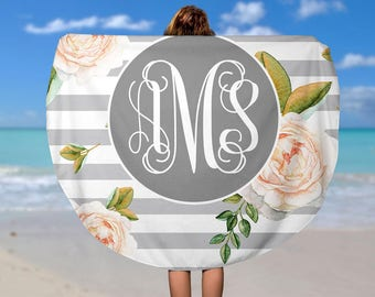 Round Beach Blanket - Personalized Round Towel - Round Beach Towel - Beach Roundie - Monogram Round Towel - Oversize Towel - Circle Towel