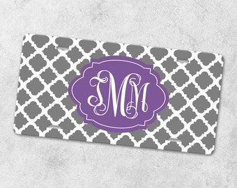 Monogram License Plate - Front Car Tag - Personalized License Plate - Front License Plate - Metal Car Tag - New Driver Gift - Quatrefoil Tag