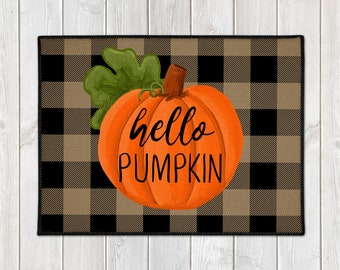 Fall Welcome Mat - Buffalo Plaid Mat - Hello Pumpkin Door Mat - Custom Floor Mat - Farmhouse Doormat - Fall Porch Decor - Welcome Door Mat