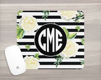 Monogram Mouse Pad - Desk Mouse Pad - Personalized Mouse Pad - Watercolor Mouse Pad - Black Stripes - Custom Mousepad - Teacher Gift - Roses