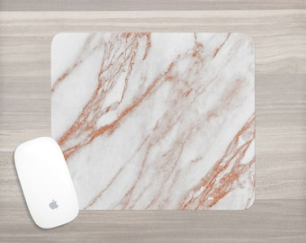 Marble Mouse Pad - Rose Gold Marble - White Faux Marble Mousepad - Gift for Her - Office Desk Accessories - Mouse Mat - Computer Accessories