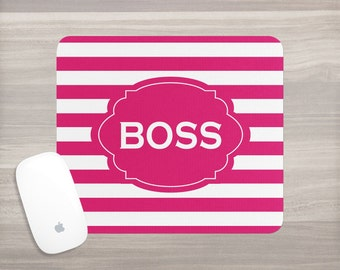 Monogram Mouse Pad - Personalized Mouse Pad - Desk Mouse Pad - Custom Mousepad - Stripe Mousepad - Girl Boss - Teacher Gift - Coworker Gift