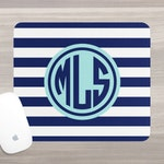 Monogram Mouse Pad - Personalized Mouse Pad - Desk Mouse Pad - Circle Monogram - Stripe Mousepad - Custom Mousepad - Teacher Gift - Coworker