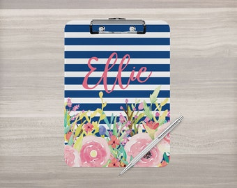 Personalized Clipboard - Monogram Clipboard - Stripe Clipboard - Watercolor Flower - Nurse Clipboard - Teacher Appreciation - Double Sided