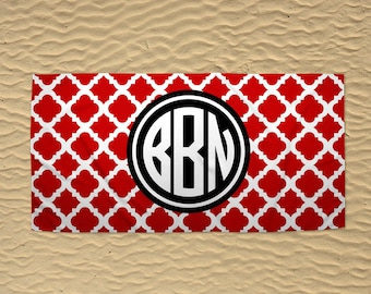 Personalized Beach Towel - Wedding Beach Towel - Monogram Beach Towel - 30x60 Towel - Custom Beach Towel - Quatrefoil Towel - Red and Black